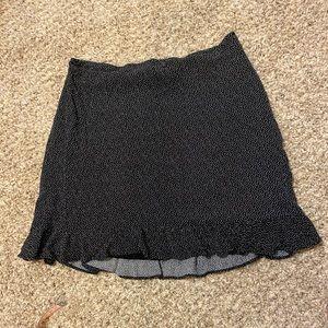 Black Dot Ruffle Hem Mini Skirt